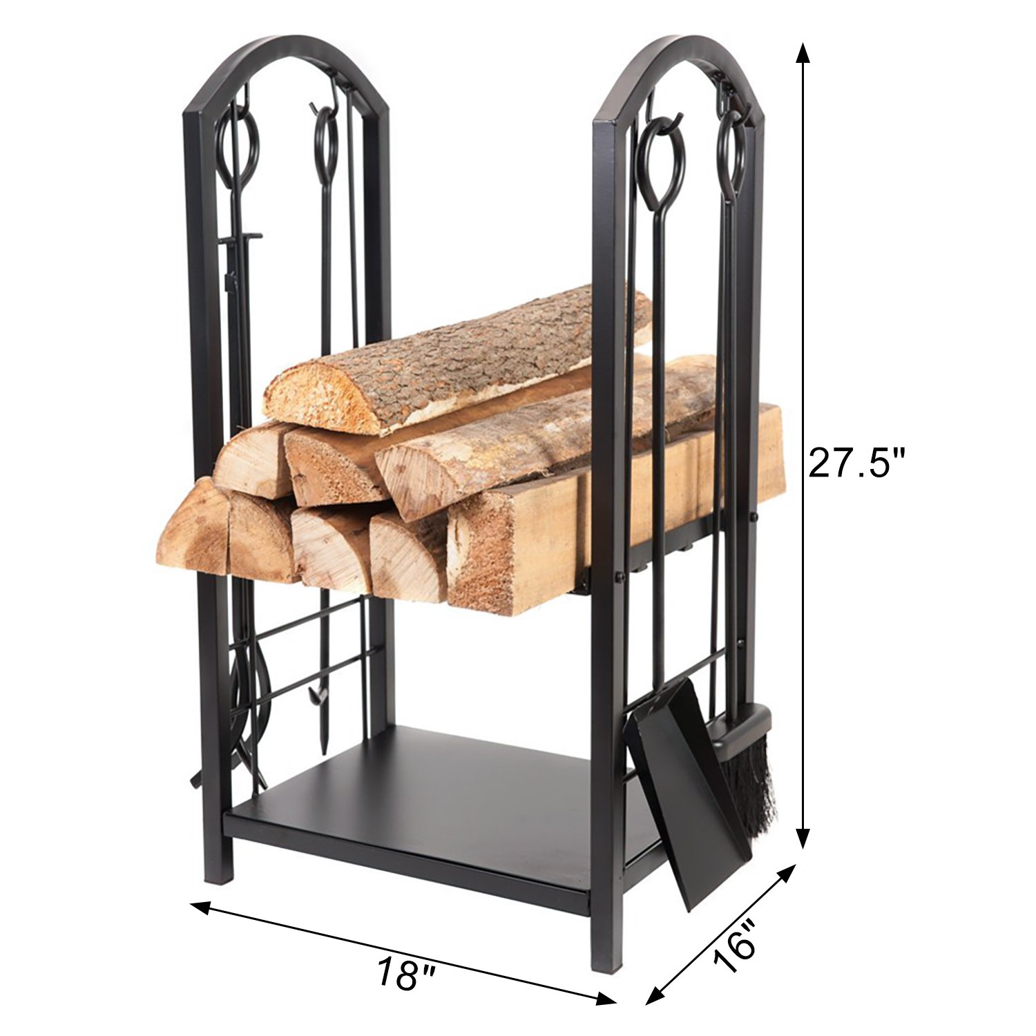 HollyHOME All-In-One Heavy Duty Hearth Firewood Rack With Fireplace Tools Set, 18''Wide x 27.5''Tall Log Holder, Black