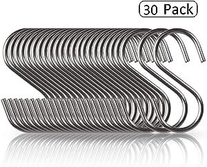 30 Pack S Shaped Hooks Stainless Steel Metal Hangers Hanging Hooks for Kitchen, Work Shop, Bathroom, Garden