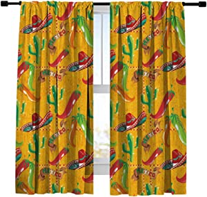 Vigesun Window Curtain,3D Print Mexican Food Pattern with Hand Drawn Cactus, Sombrero and Chili Illustration,Curtains for Bedroom,Living Room,Kitchen,Set of 2 Panels,42x54 inch Length