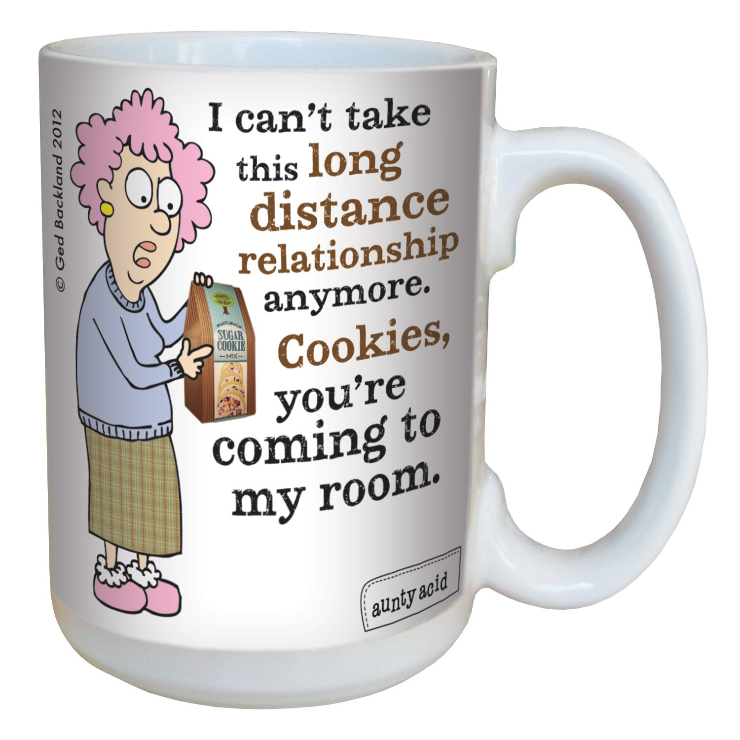 15-Ounce Tree-Free Greetings lm43827 Hilarious Aunty Acid Long Distance Relationships by The Backland Studio Ceramic Mug