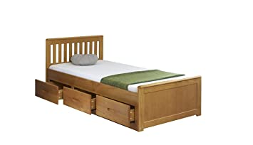53b41af4e115 Amani Pine Mission Single Slat Bed With Storage - 3 Drawers: Amazon ...