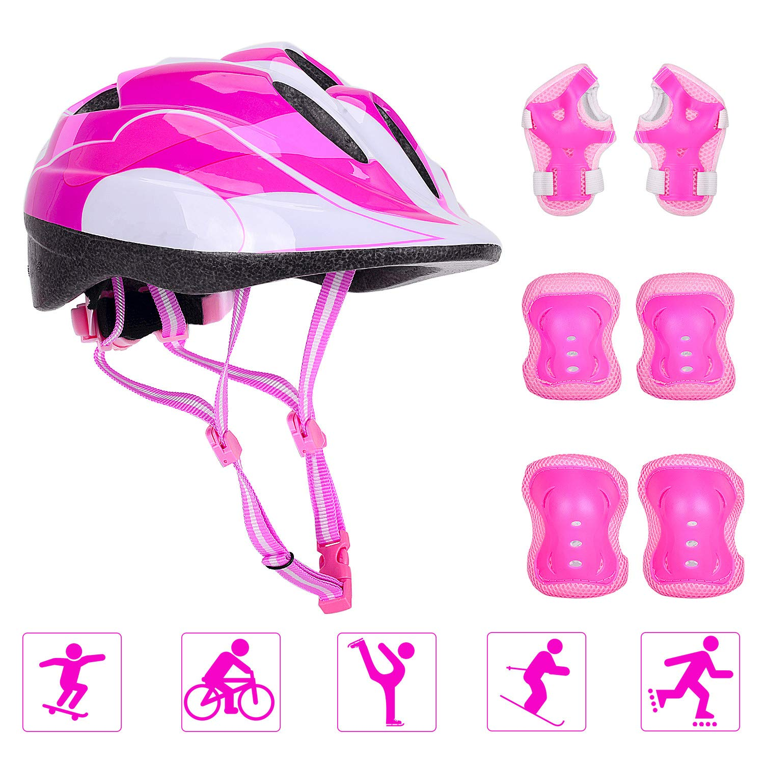 Adjustable Helmet Cycling Roller Skateboard Elbow Knee Pads Wrist Safety Protective Guard Gear Set for Children Aged 5-12 Years Old (Pink)
