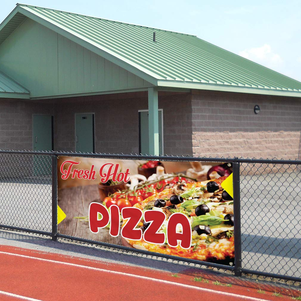 Vinyl Banner Sign Fresh Hot Pizza #1 Style A Pizza Slice Marketing Advertising Brown 28inx70in 4 Grommets Multiple Sizes Available Set of 2