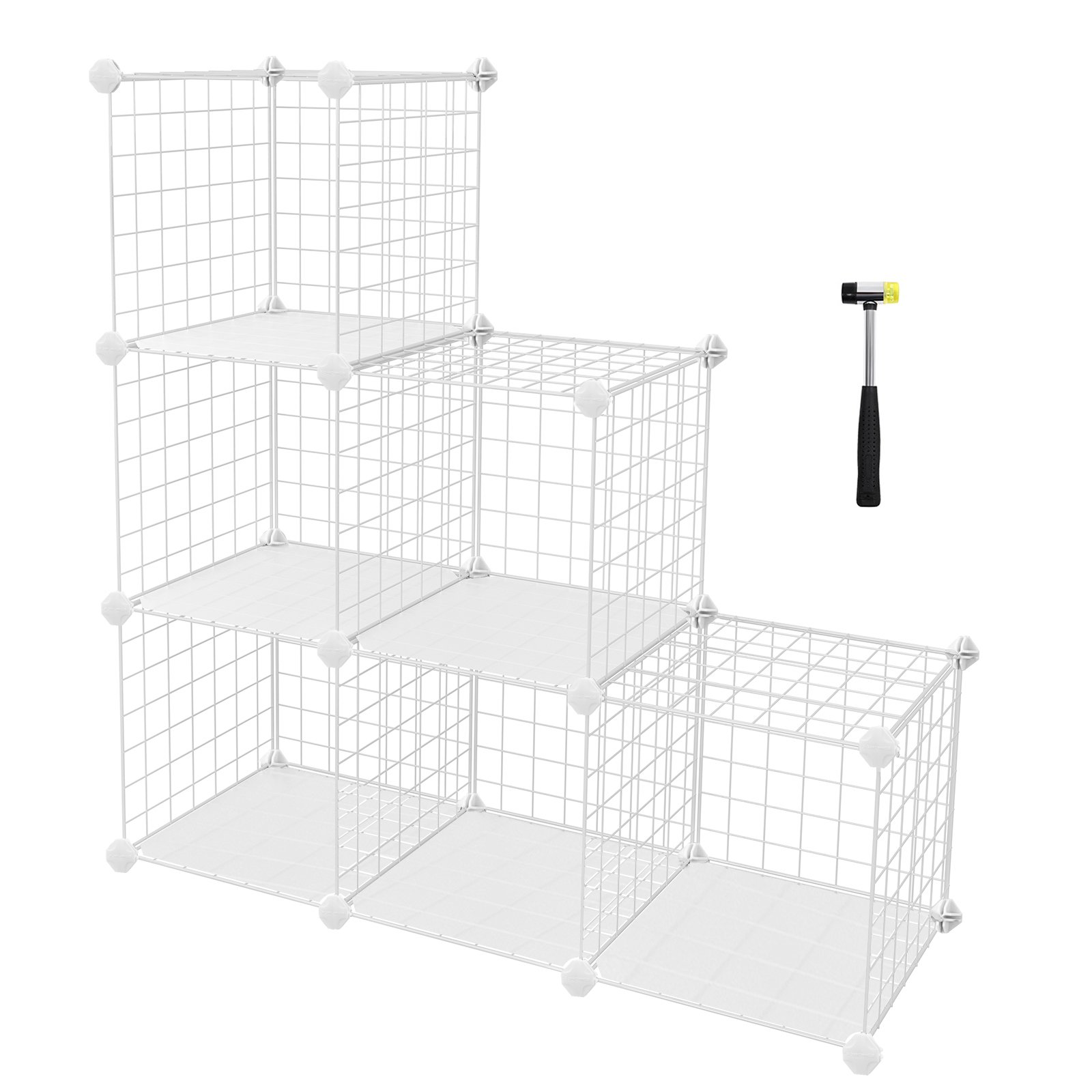 SONGMICS 6-Cube Metal Wire Storage Organizer, DIY Closet Cabinet and Modular Shelving Grids, Wire Mesh Shelves and Rack, White, ULPI111W