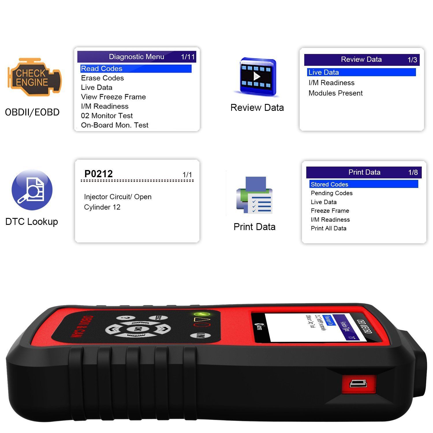 Kzyee KC401 Universal OBD2 Scanner, Enhanced OBD II Car Code Reader/Eraser Supports ABS Diagnostic Scan Tool with TFT color Screen, for Diesel and Gasoline Engine 12V Vehicles by Kzyee (Image #5)