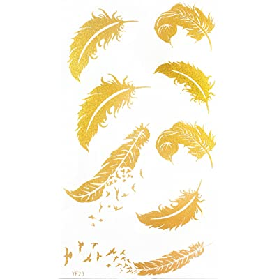 Latest hot selling and fashionable tattoo sticker product dimension 6.69x3.74 feather with flying birds Golden gold realistic temporary tattoo stickers by InterRookie