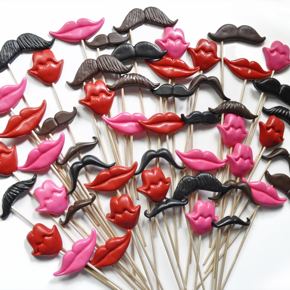 Photo Booth Prop Kit, Set of 100 Mustache and Smile Props on Sticks by Whisker Works