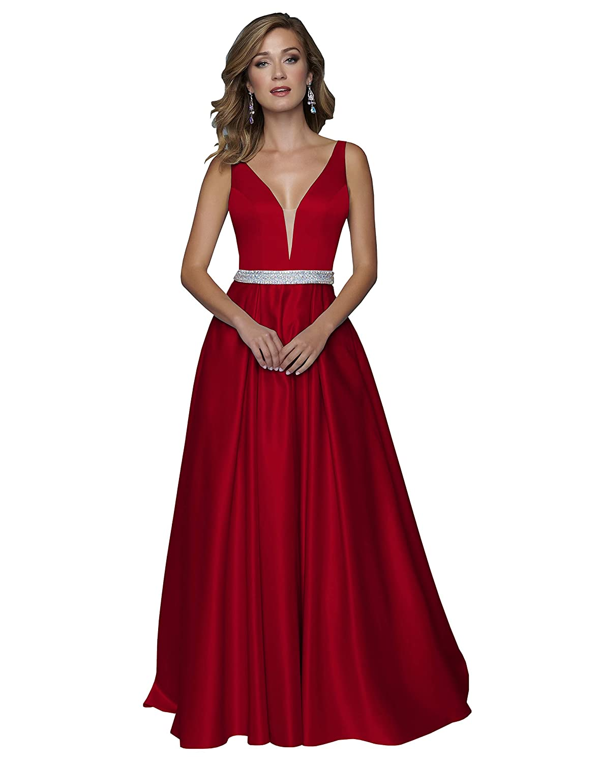 Now and Forever Womens A-Line V Neck Satin Prom Dresses Long Formal Gown with Pockets Beaded Belt