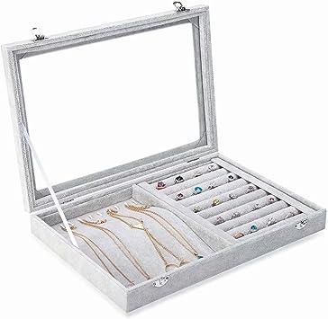 Joyero de cristal de terciopelo, organizador de anillos, bandeja para joyas, aretes, caja de almacenamiento (Necklace & Rings-Box): Amazon.es: Bricolaje y herramientas