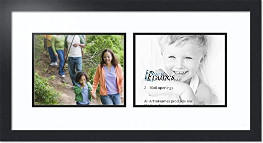 """ArtToFrames Collage Mat Picture Photo Frame 2 8x10/"""" Openings in Satin Black 241"""