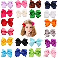 3 Inch Baby Girls Clips,20 PCS Proxima Direct baby Hair Clips,Grosgrain Boutique Solid Color Ribbon Mini Hair Bows Clips…