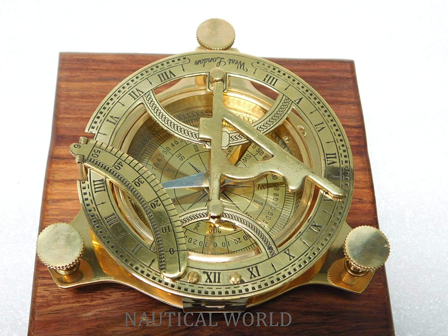 """4"""" Brass Sundial Compass Fully Functional Compass nevegation Nautical Maritime Vintage Antique Compass Nautical World"""