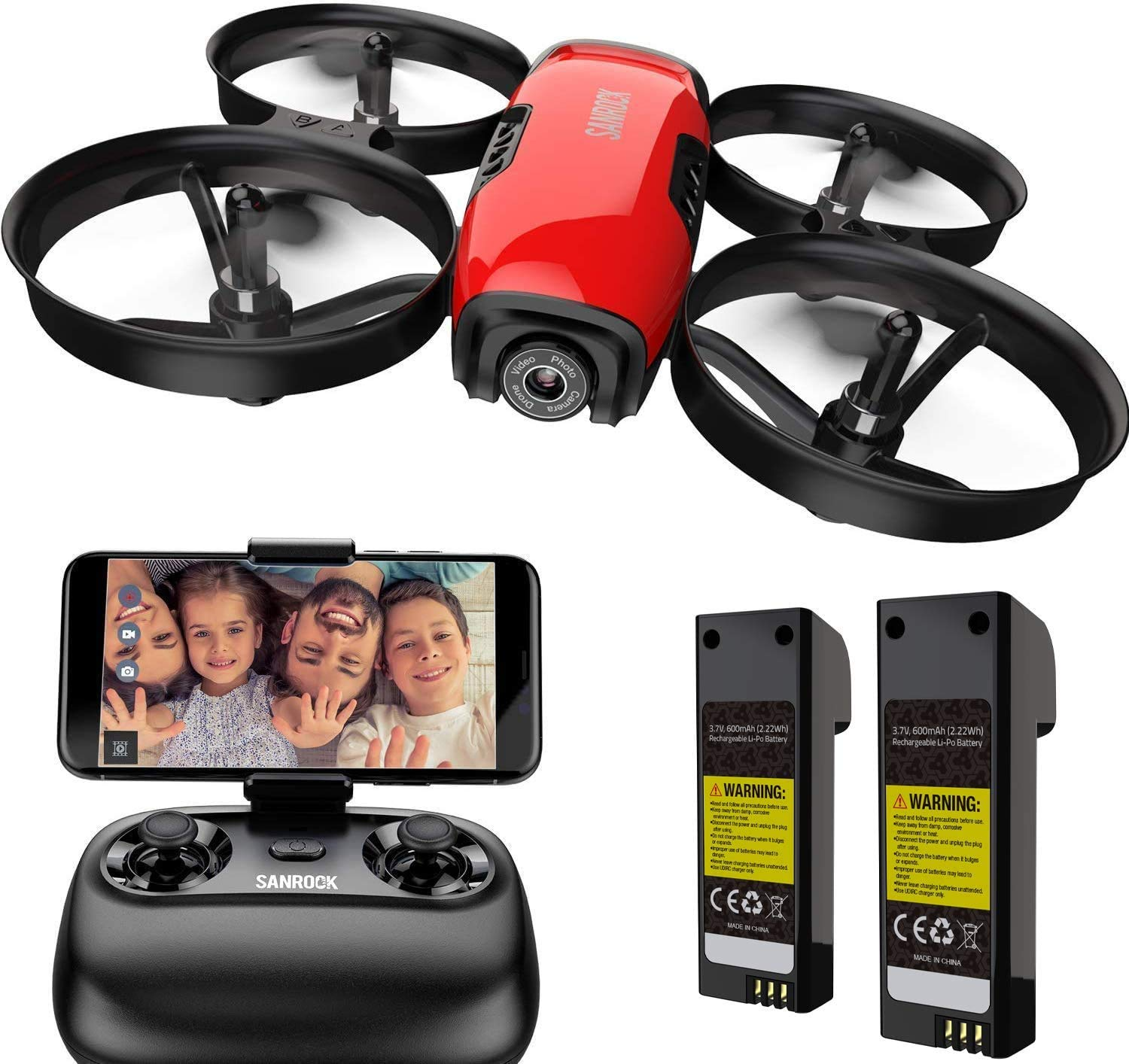 SANROCK U61W Drones for Kids with 720P HD Camera, Mini RC Drone Quadcopter, Support Altitude Hold, Route Making, Headless Mode, One-Key Start, Emergency Stop, Great Gift for Boys Girls 2 Batteries