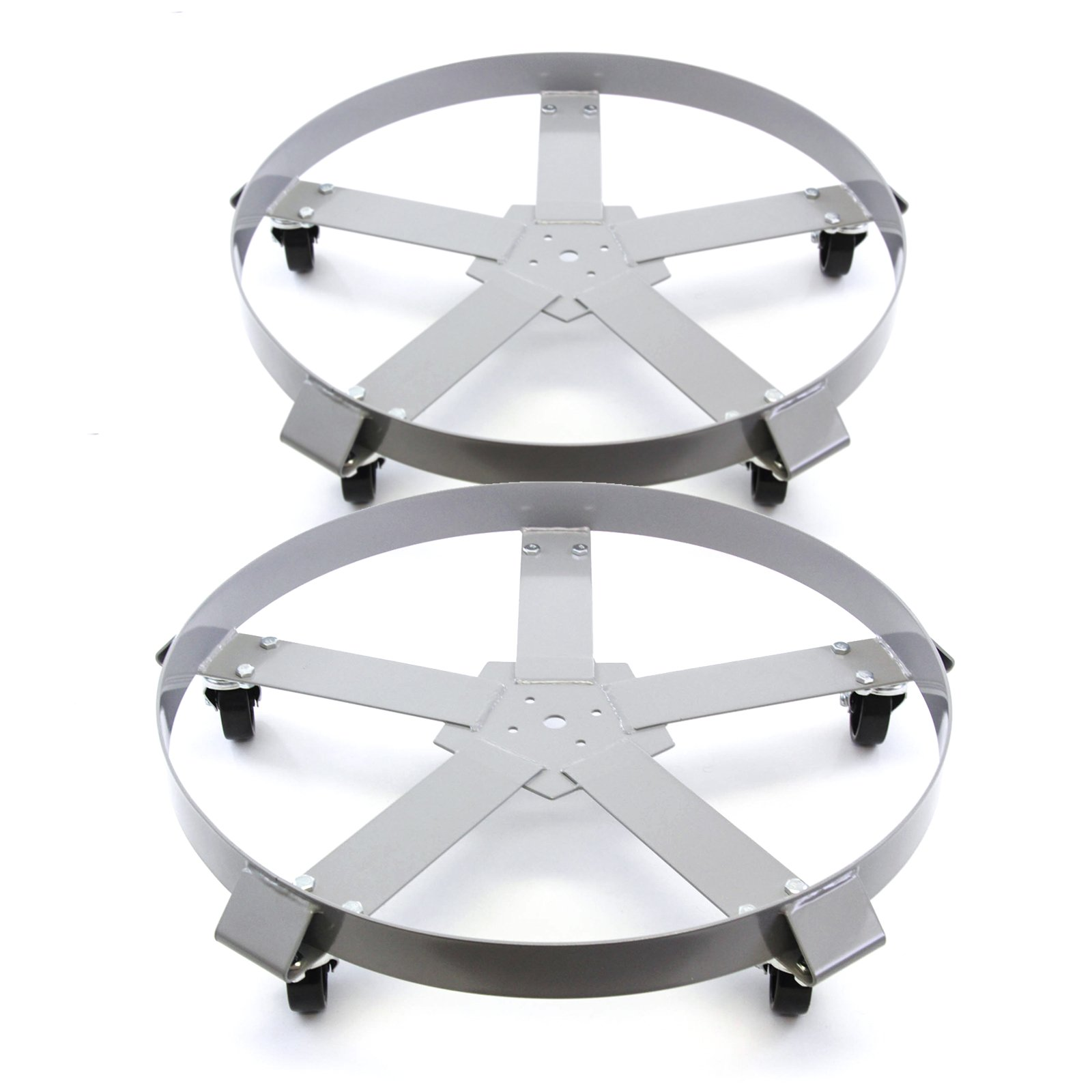 2) Extra Heavy Duty 55 Gallon Drum Dolly Dollies Swivel Casters Steel Frame Non Tip 1250 lbs 5 Wheel