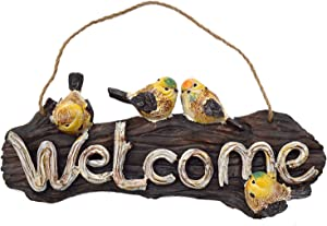 OwMell Welcome Sign Garden Bird Statue, Birdy Hanging Sign Farmhouse Porch Decorations for Home Garden Store Front Door Decor Resin 13 inch
