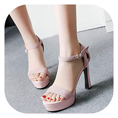 8b852131031fa Good-memories pumps Sexy Suede Leather Women Sandals Thick High Heels 12 cm  Gladiator Cover