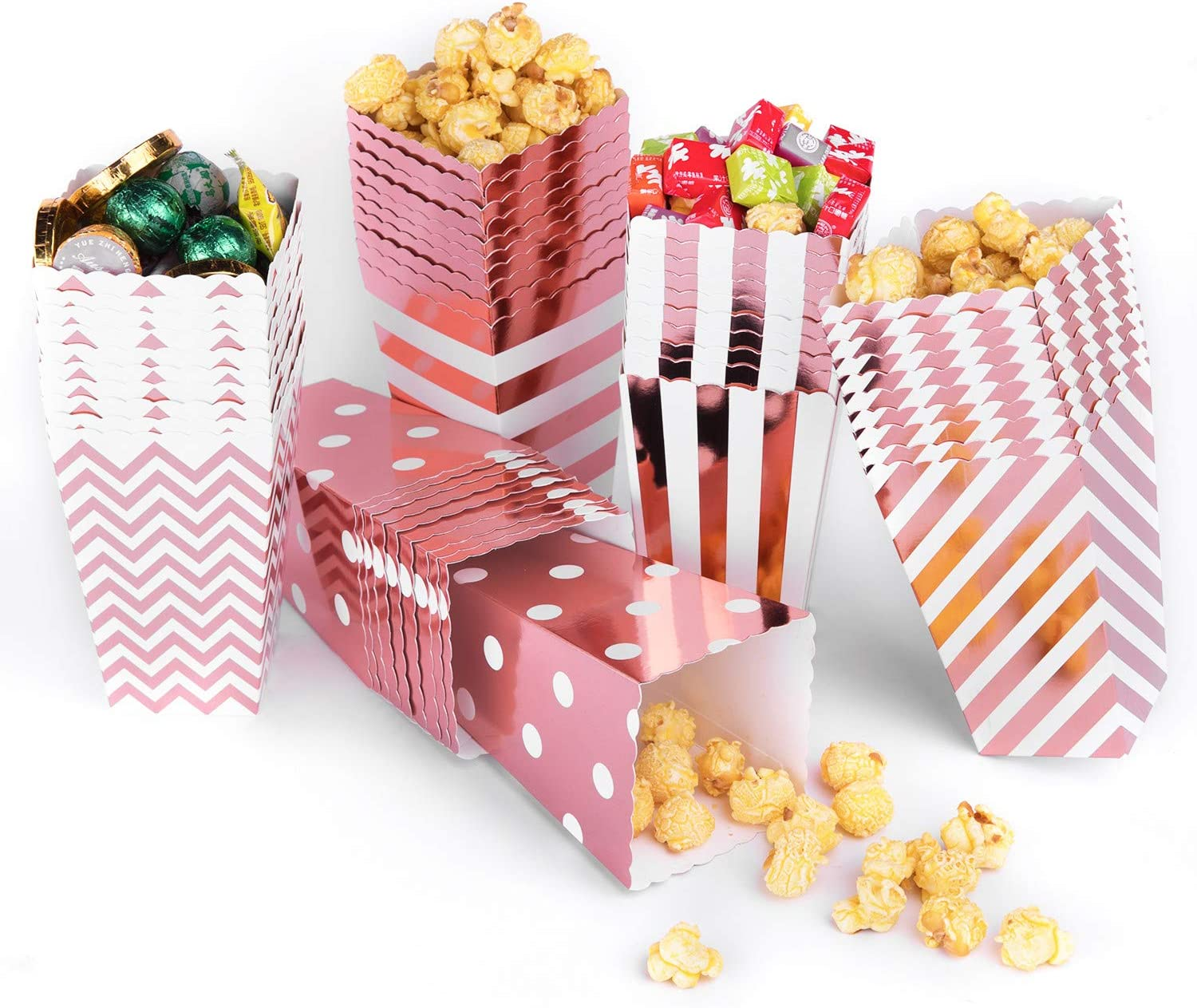 Rose gold Popcorn Boxes Bags,50PCS Popcorn Boxes Cardboard Candy Container for Party Snacks