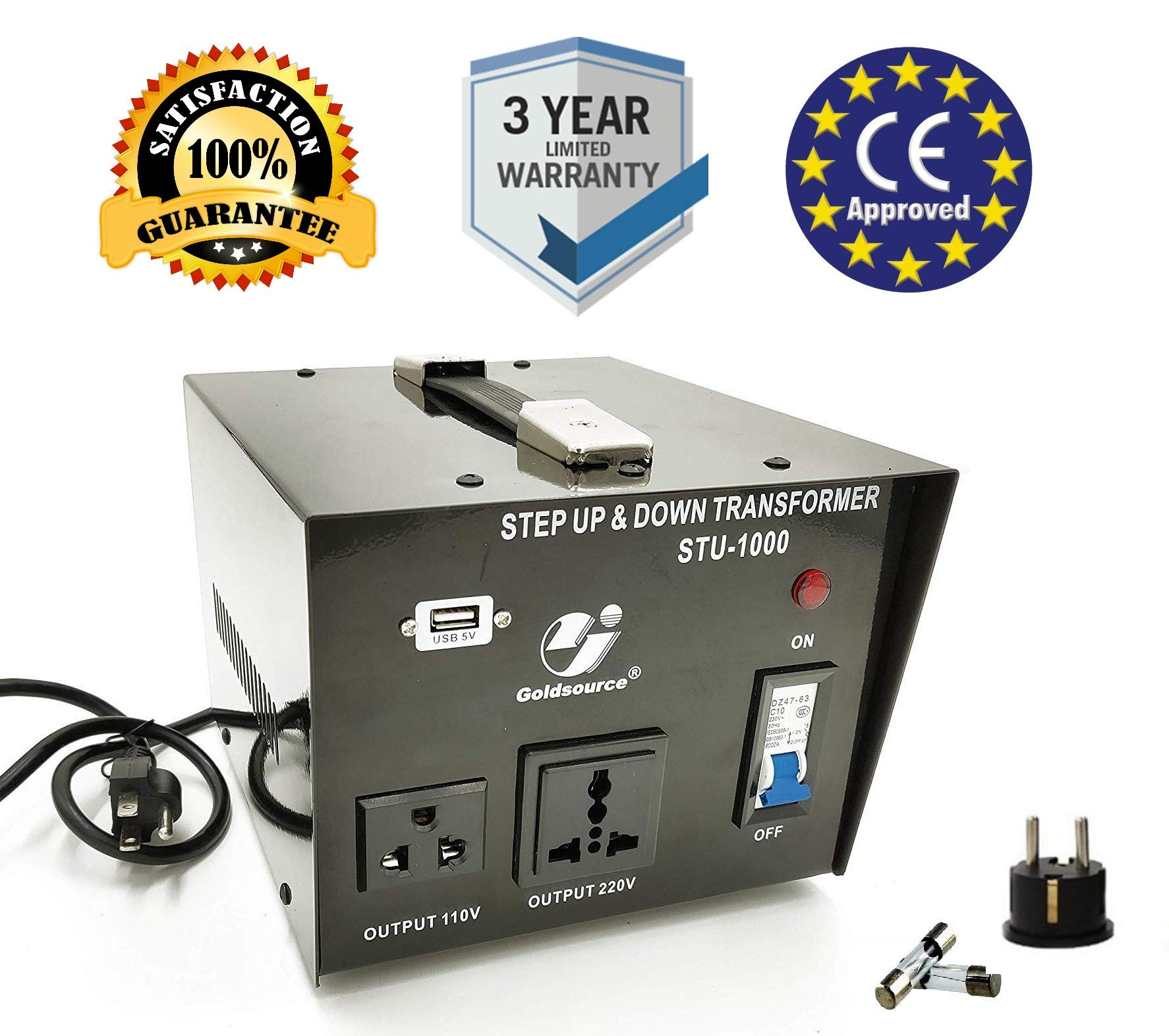 Goldsource 1000W Step Up & Step Down Voltage Transformer Converter, STU-1000 Heavy Duty Continuous AC 110-120V to 220-240V Converter with US Standard & Universal Outlets and DC 5V USB Port, 1000 Watt
