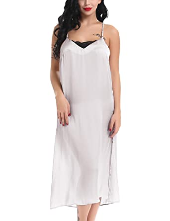 a94e209f7ba33 Yulee Women Long Satin Lingeire Chemise Lace Nightshirts Full Slips Sling  Dress Gray, S