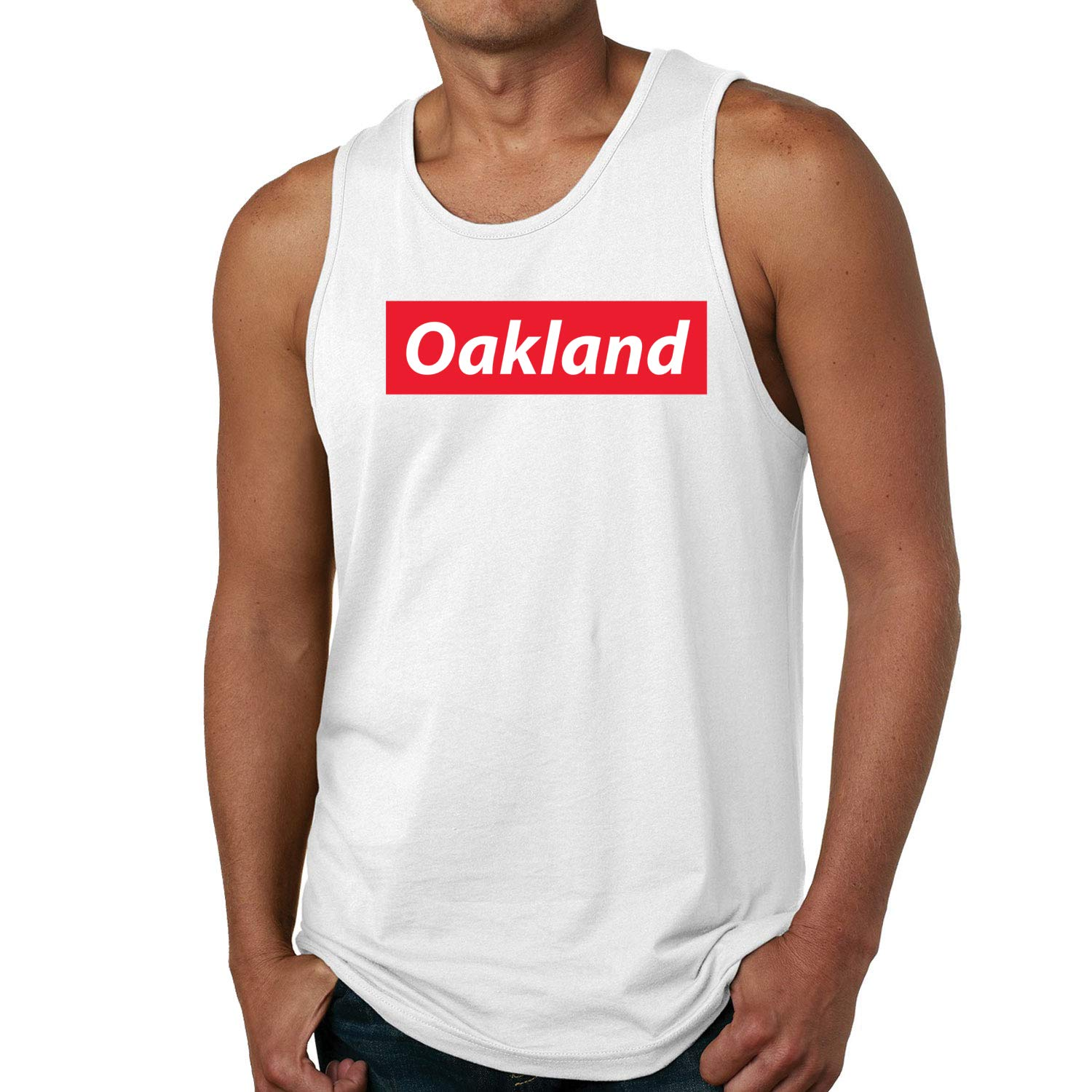 Red Box Logo Oakland City Pride Mens Graphic Tank Top