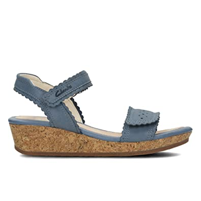 27746444686 Clarks Girls Wedge Heel Sandals Harpy Myth - Denim Blue Leather - UK Size  10F -