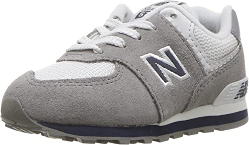 New Balance Boys 574v1 Lace-Up Sneaker 1-4 Years Grey//Navy 13 M US Toddler