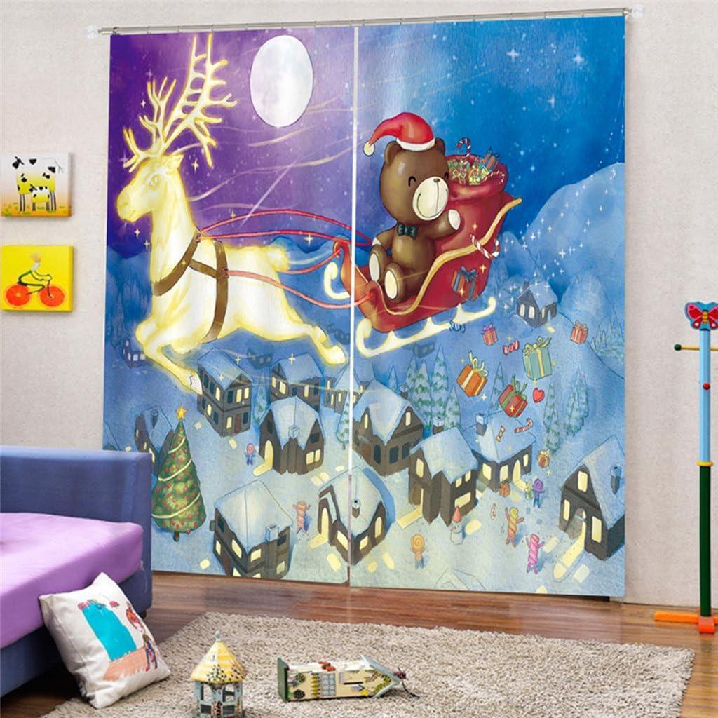 MagiDeal 2pcs Rideau de Fen/être en Polyester Motif No/ël Panneau Store D/écoration Maison 175x166cm 1#