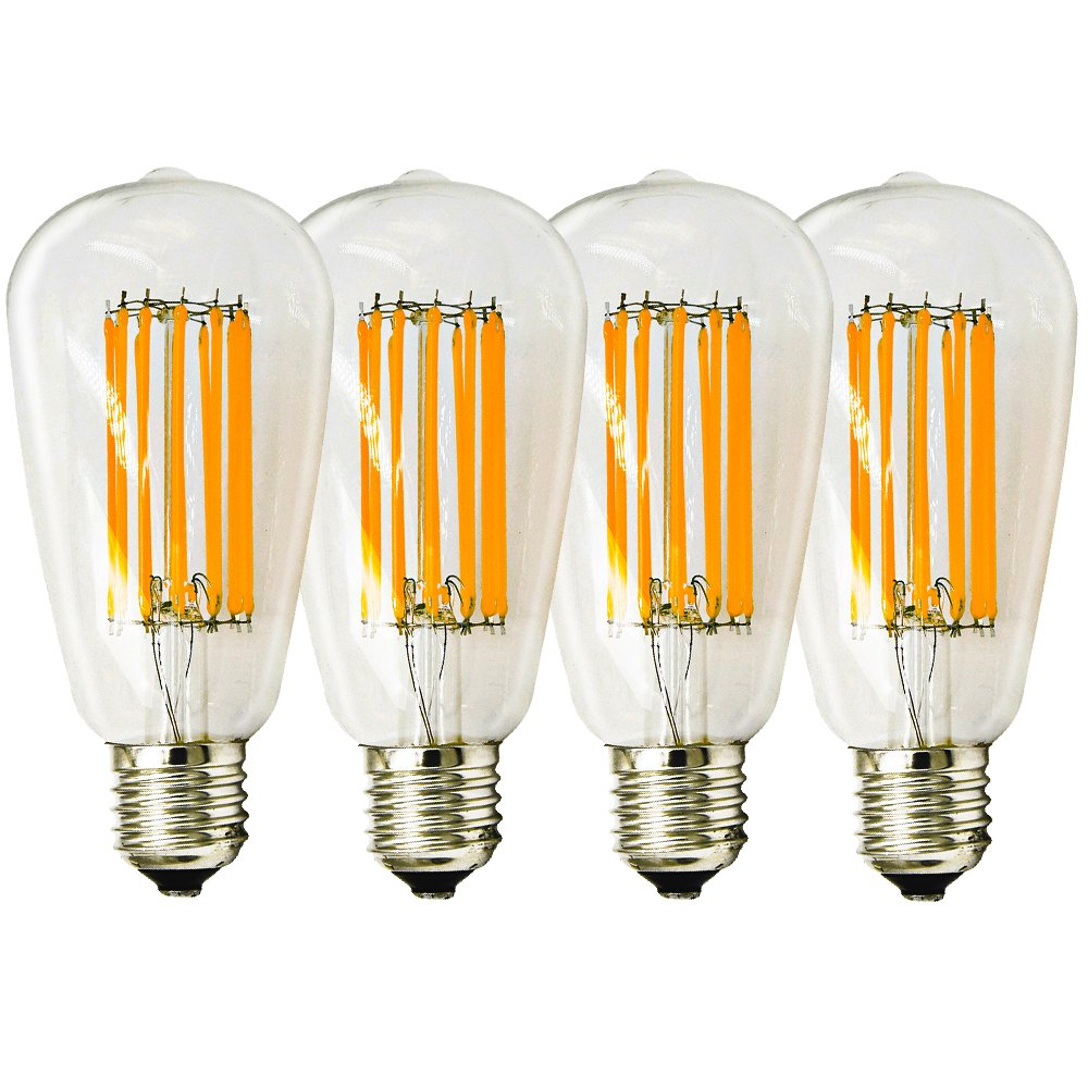 12W ST21 LED Filament Bulbs, Lustaled Vintage Edison LED Lights 120V ST64 Antique Shape Filament Lamps Medium E26 Base 120W Incandescent Replacement for Home Decortion (Daylight 6000K, 4-Pack)