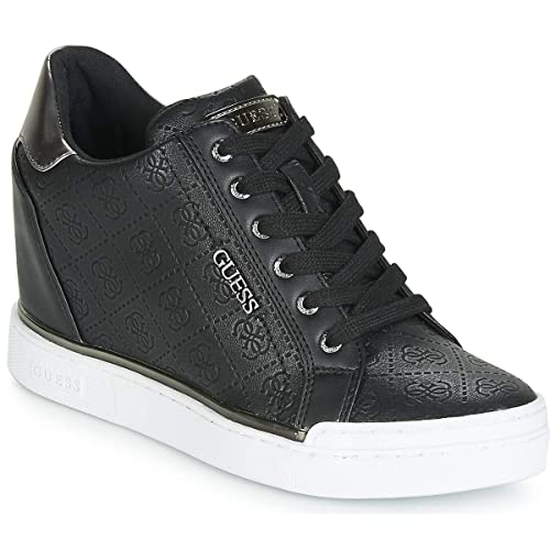GUESS, FLOWURS Black Zapatilla Negra con cuña para Mujer: Amazon.es: Zapatos y complementos