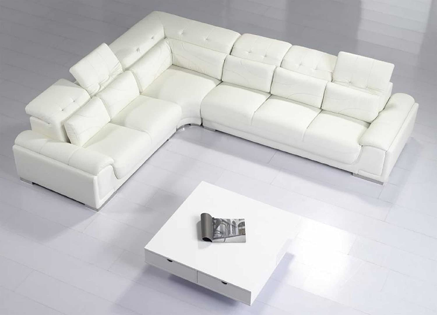 Amazon.com: Modern Furniture  VIG  T93C   Modern White Leather Sectional  Sofa: Kitchen U0026 Dining