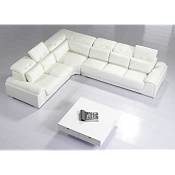 Amazon Com Modern Leather 5 Piece Sectional Sofa In White