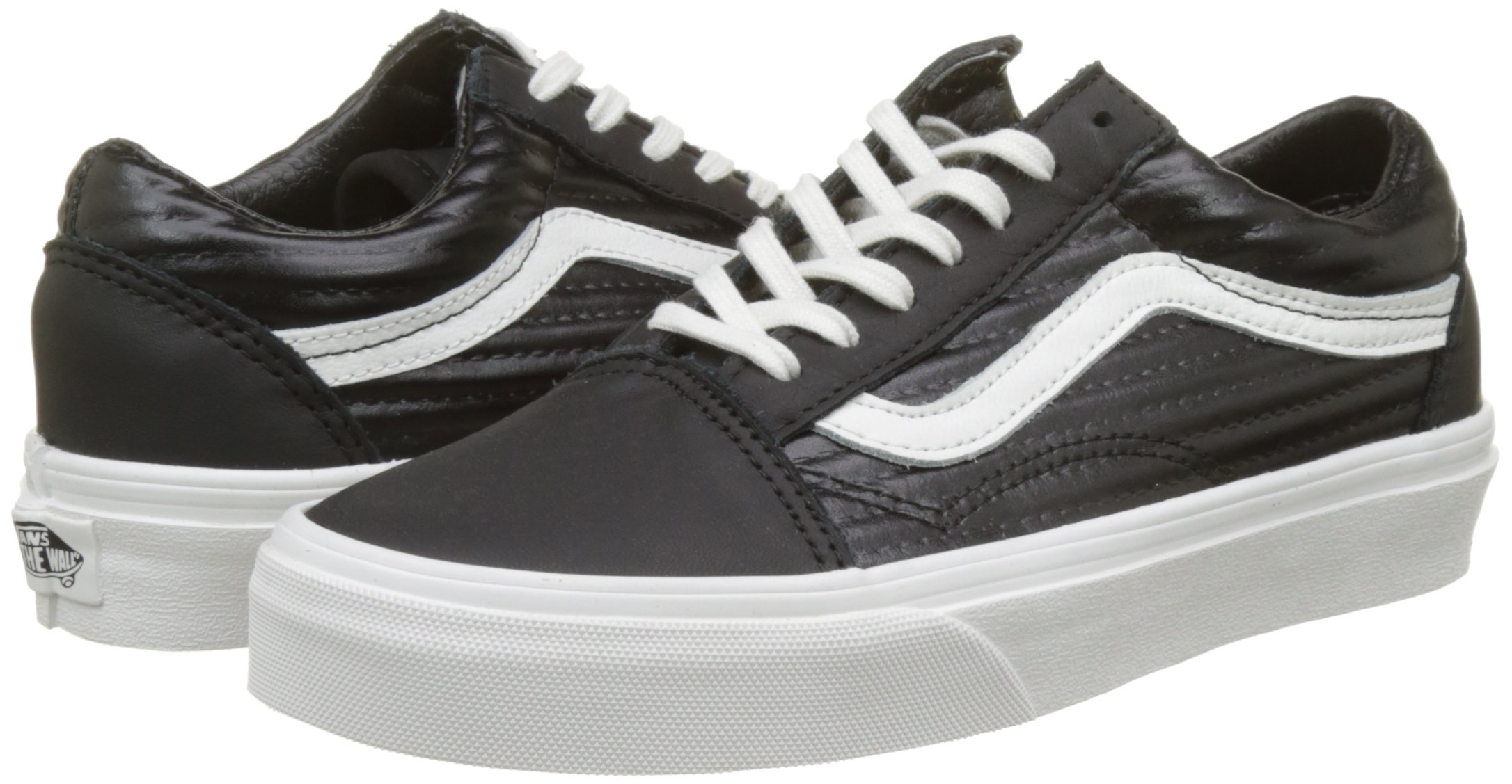 Vans Old Skool, Womens Trainers, Black(Black/Blanc De Blanc(Moto Leather)), 8 (42 EU) by Vans (Image #5)
