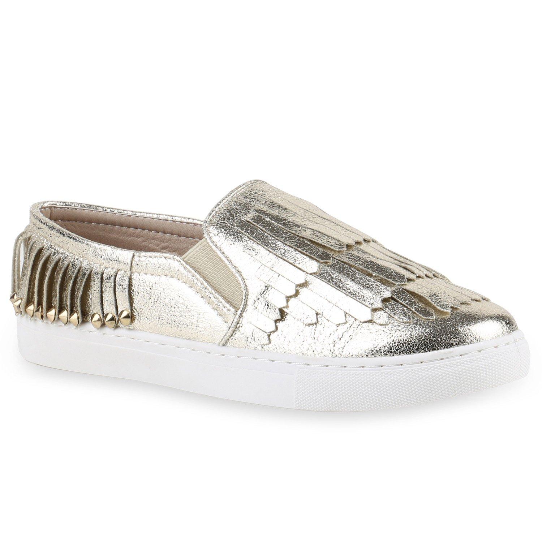 Stiefelparadies Unisex Damen Herren Sneaker Slip Ons übergrößen Flandell Gold Nieten Fransen