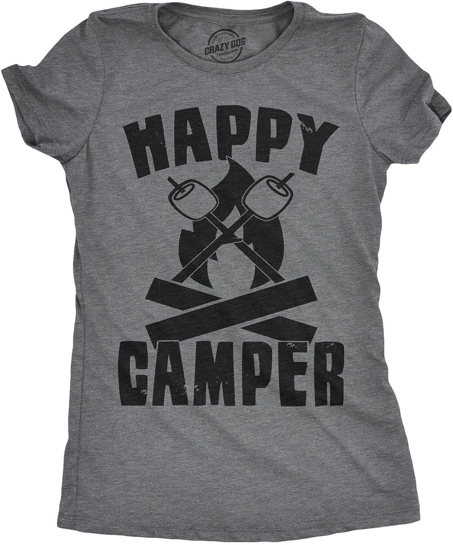 Womens Happy Camper Shirt Funny Camping Shirts Cool Vintage Tees Retro Design