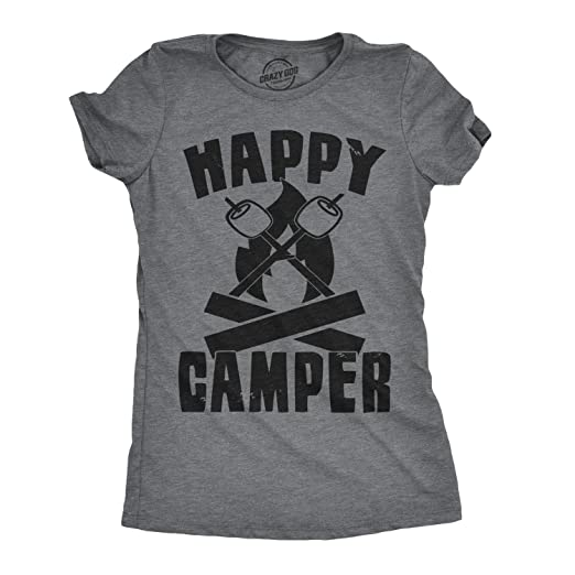 Womens Happy Camper Shirt Funny Camping Shirts Cool Vintage Tees Retro Design Grey S