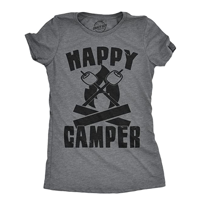 dc6bcfa2 Womens Happy Camper Shirt Funny Camping Shirts Cool Vintage Tees Retro  Design (Dark Heather Grey