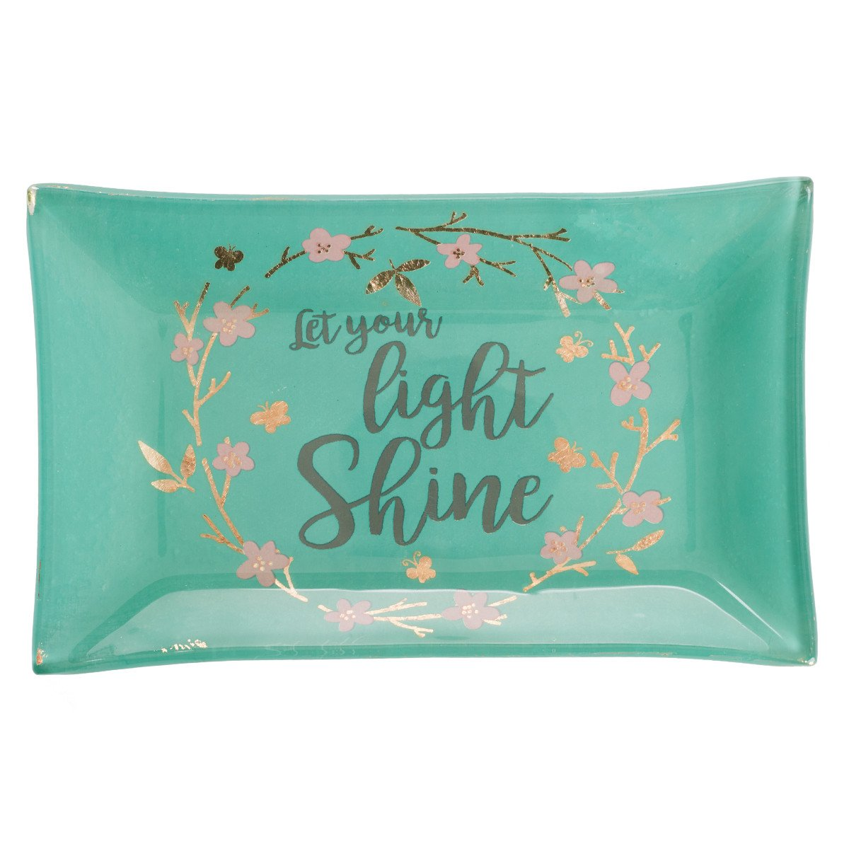Christian Art Gifts Let Your Light Shine Glass Trinket Tray in Teal, Sparkle Collection