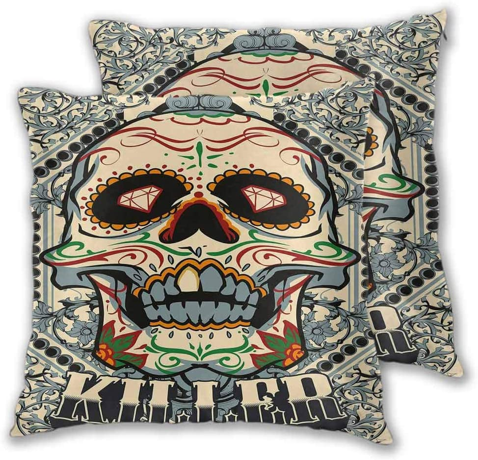 "Sugar Skull Decor Farmhouse Throw Pillow Covers Sugar Killer Calaveras Framework Day of the Dead Vintage Gothic Design for Sofa Bedroom Car Multicolor 20"" x 20"", Set of 2 (Insert Not Included)"