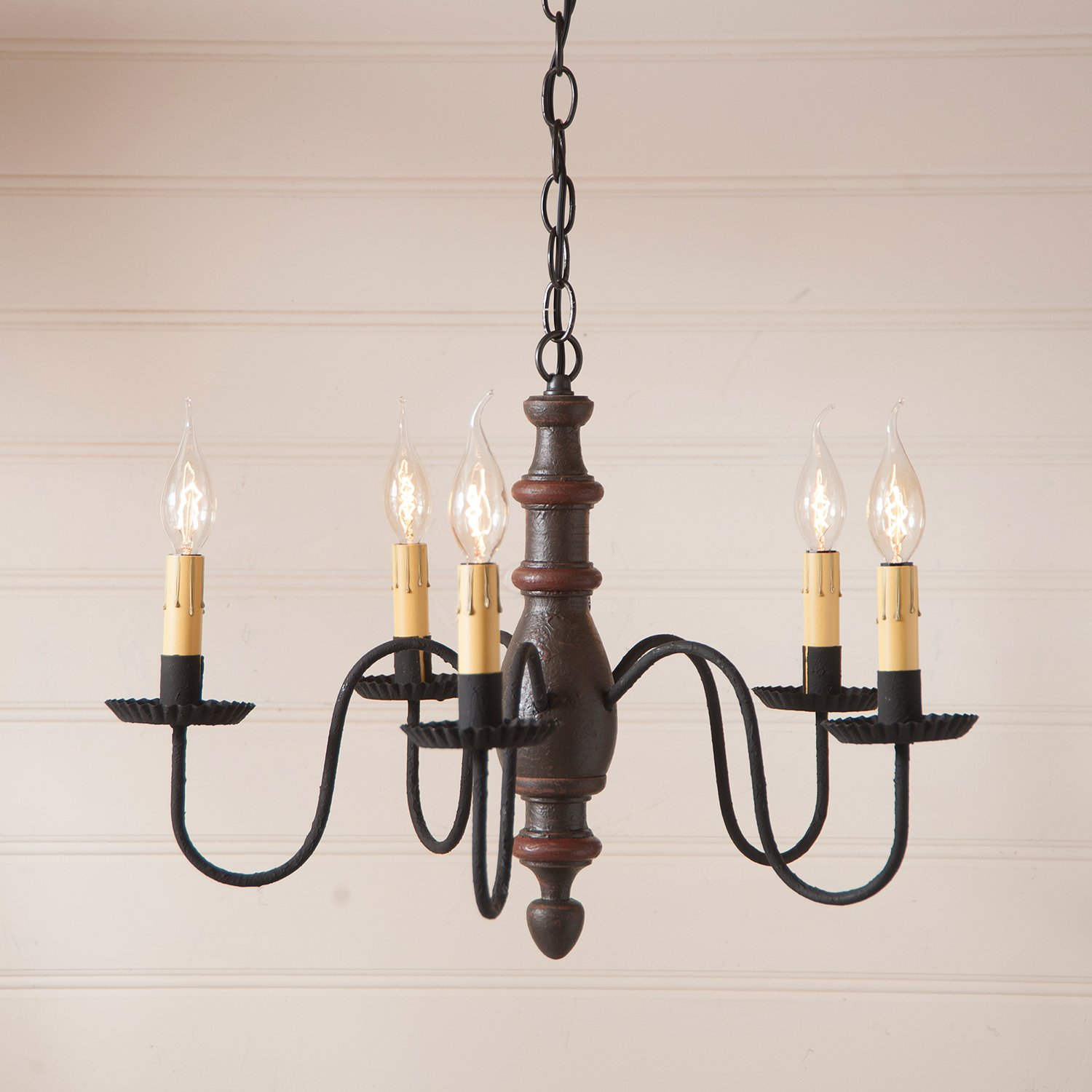 Country Inn Chandelier in Espresso with Salem Brick