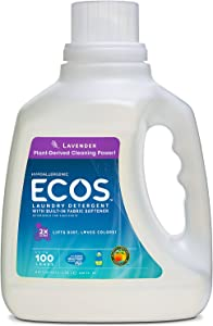 Earth Friendly Products Ecos 2X Liquid Laundry Detergent, Lavender, 100-Ounce Bottle (Pack of 4)