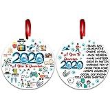2pcs Chrismas Ornament 2020 Quarantine, Christmas Decoration Round Ornaments Gift Resin Christmas Tree Hanging Ornament Funny