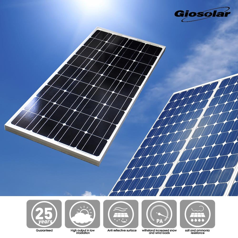 Giosolar 100W Solar Panel 100Watts 12v Monocrystalline Solar Panel 100W, 90mm of special cable with MC4 connectors attached, Off Grid 12 Volt 12V RV Boat-Giosolar