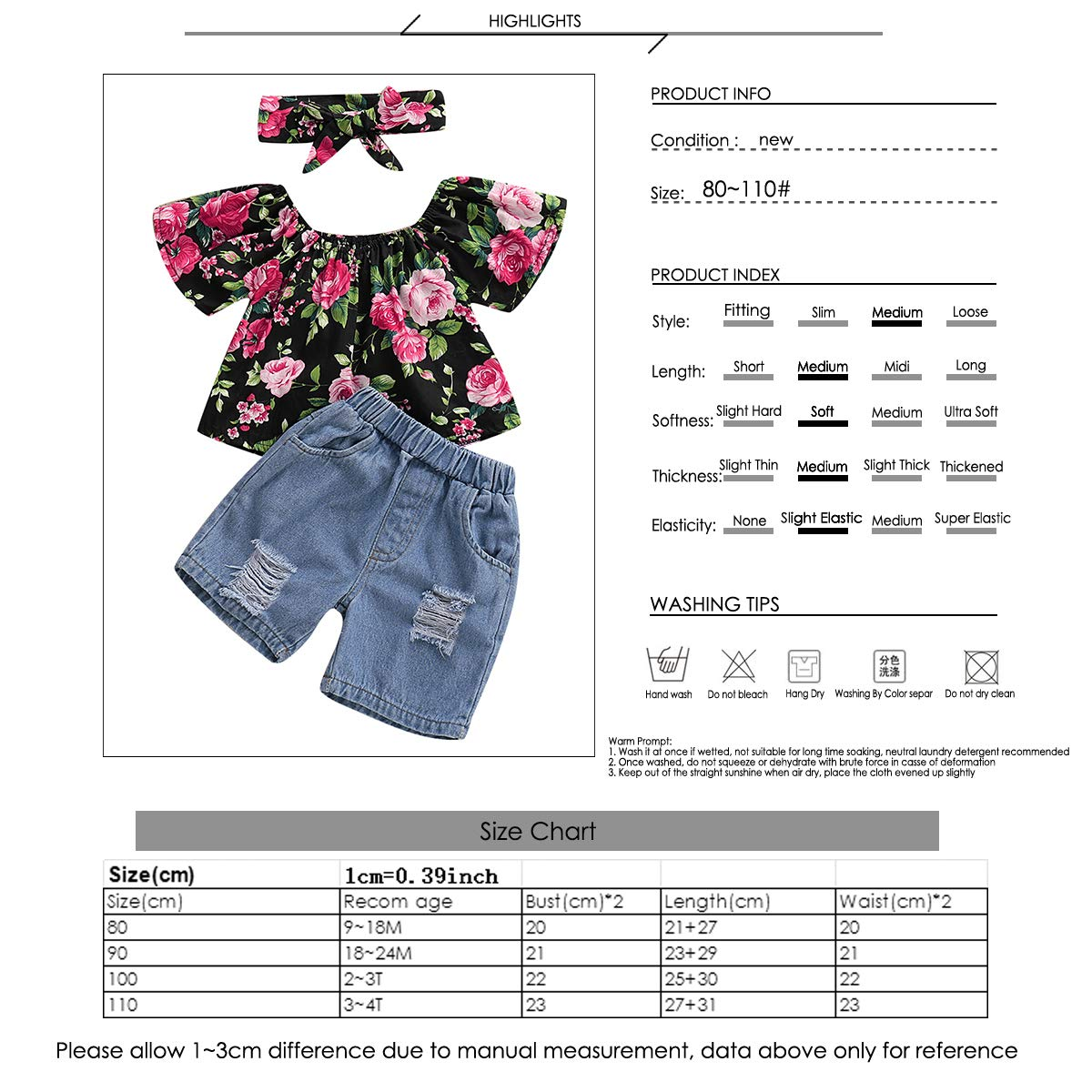 3pc Infant Toddler Girl Floral Outfits Short Sleeve Top Shirt+Hole Shorts+Headband
