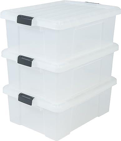 Iris Ohyama, lote de 3 cajas de almacenamiento robusto con cierre - Power Box - SK-430, plástico, transparente, 43 L, 63,5 x 44,6 x 23 cm: Amazon.es: Hogar