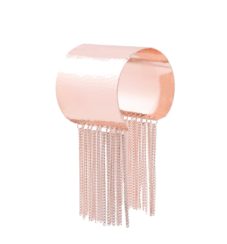 ELEARD Cuff Bangle Bracelet Statement Modern Hammered Bangle with Tassel for Women (Rose Gold)