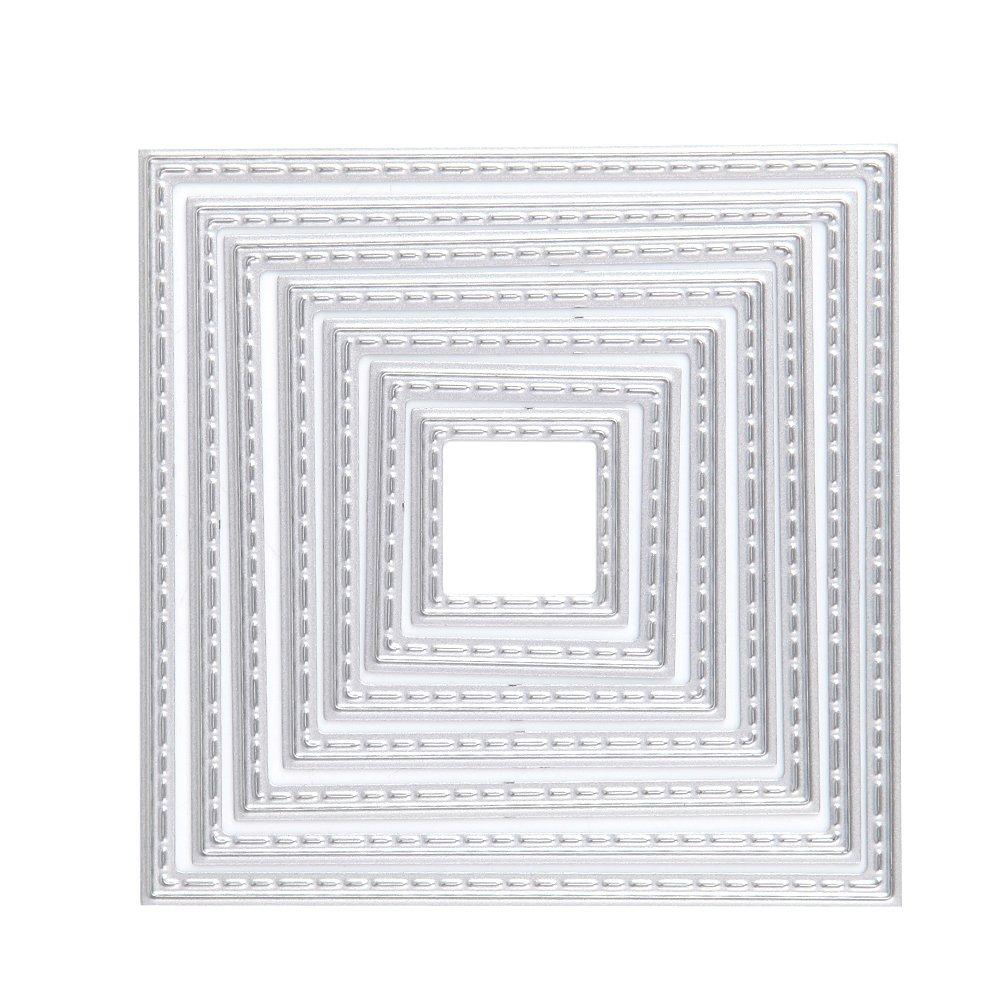 Hunulu 7 Pcs Square Metal Cutting Dies Stencils Set DIY Scrapbook Album Paper Card Set 4336980413