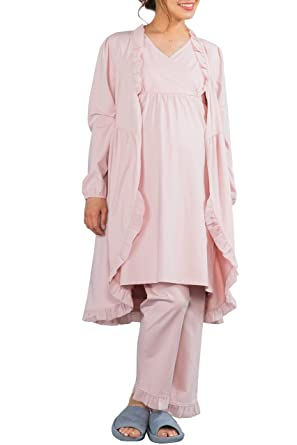 5673cfc59e3fc Sweet Mommy Maternity and Nursing Ruffled Hem 3 Items Pajama Set Pink M