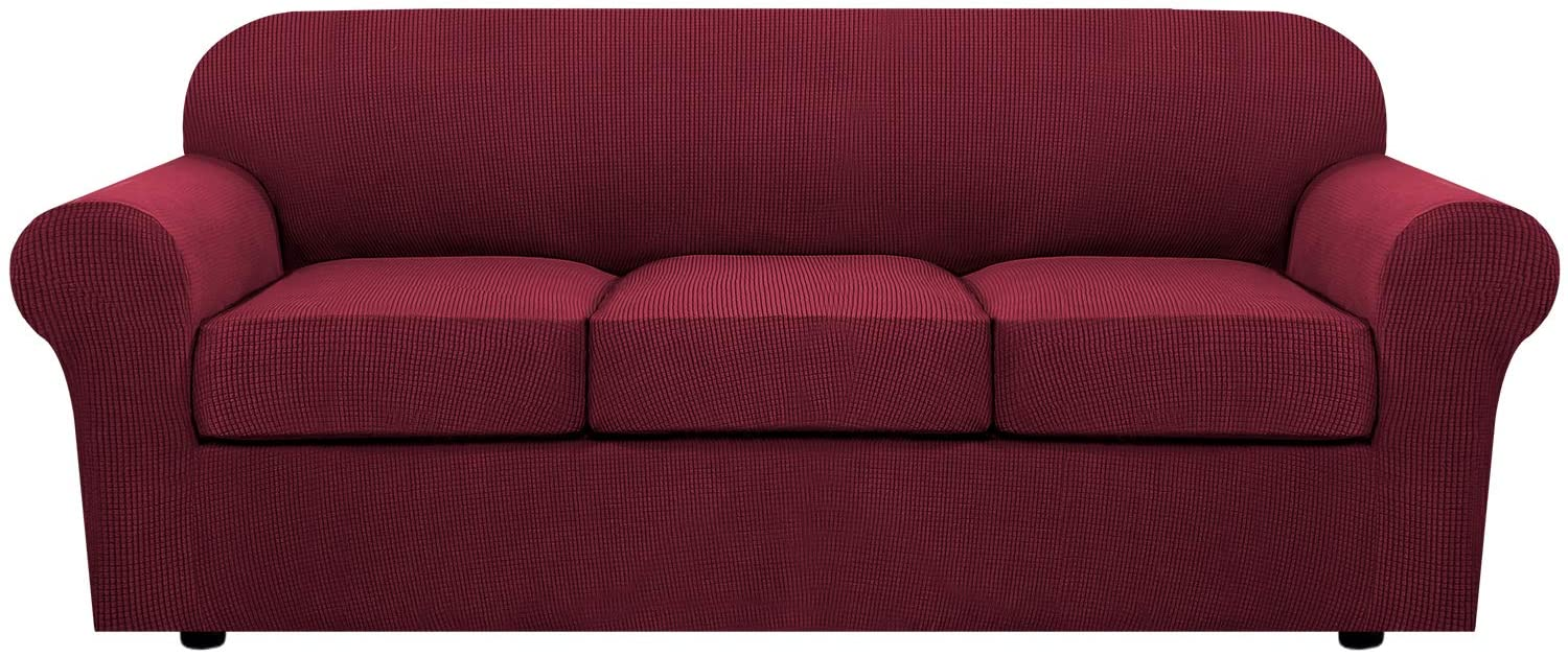 4 Piece Stretch Sofa Covers for 3 Cushion Couch Covers for Living Room Furniture Slipcovers (Base Cover Plus 3 Seat Cushion Covers) Feature Upgraded Thicker Jacquard Fabric (Sofa, Burgundy)