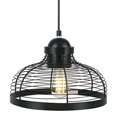 Vintage Industrial One-Light Indoor Mini Pendant Lighting, Adjustable Edison Farmhouse Kitchen Lamp for Kitchen Island, Restaurants, Hotels and Shops, 1-Pack Black