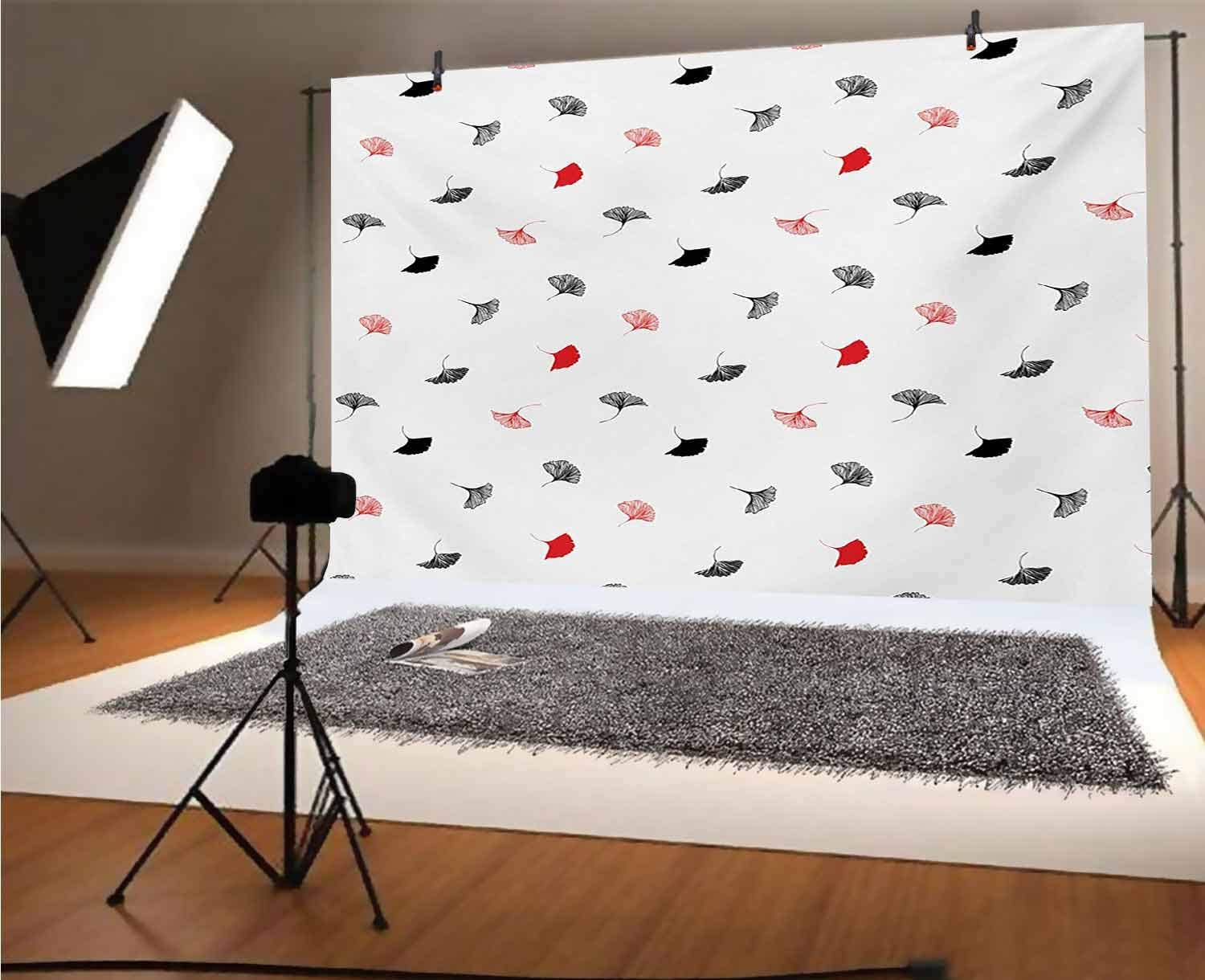 Leaf 8x6 FT Vinyl Photography Backdrop,Red and Black Ginkgo Leaves Scattered on White Background with Minimalist Style Background for Photo Backdrop Baby Newborn Photo Studio Props